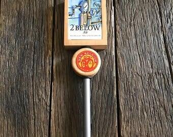 New Belgium Beer Tap Handle - Large New Belgium 2 Degrees Below Ale Beer Tap Handle - Metal And Wood Beer Tap Handle