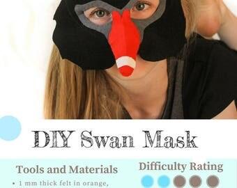 Black Swan mask PATTERN- Kids swan costume sewing pattern PDF.