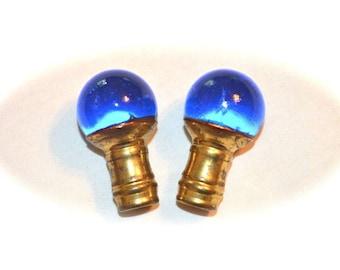 Pair Blue Glass Ball Finials Vintage 1950s Brass Ferrules