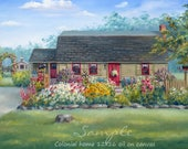 Oil on canvas custom home portrait, house painting from photos, Unique personalized art gift, Commissioned artwork by Janet Zeh Original Art