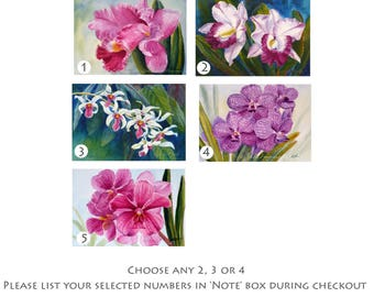 Orchid paintings, original watercolors, small unframed 4x6 tropical flower wall art, special price on two, three or four by Janet Zeh