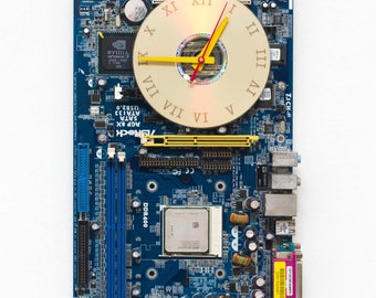 Wall clock - recycled Computer clock - blue circuit board clock - gift for geek - ready to ship c5591