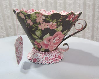 3d paper tea cups tea party bridal shower baby shower favor holder candy dish cookie holder