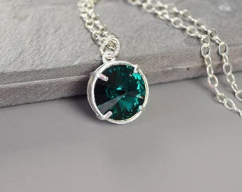 May Birthstone Necklace for Mom Birthday Gift Emerald Green Necklace Silver May Birthstone Gift for Her Mothers Day Gift Push Present