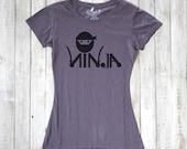"""Womens Typography Tshirt, Purple """"Ninja"""" T Shirt, Funny Graphic Tee, Eco friendly Clothing, Organic Cotton Bamboo Tshirt by Uni-T"""