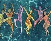 """Joy Of Dancing"""" Watercolor Batik, Giclee Print 11x14 8x10"""