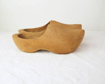 Antique Wooden Clogs- Genuine- Worn at Dutch School in Midwest USA- Signed- Vintage Wood Shoes- Girl- Women Size 5 (?)- Hand Carved