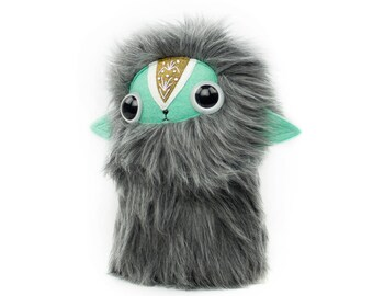 Embroidered Grey Brown Teal Nugget Plushie Cool Critter