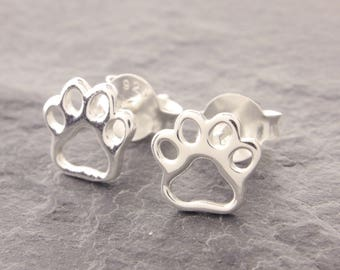 Sterling Silver Paw Stud Earrings, dog paw, cat paw, tiny stud earrings, mini stud earrings, paw earrings, dog jewelry, cat jewelry, N21