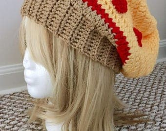 READY TO SHIP Pizza Slouchy Hat - Women's / Teens