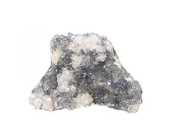 Rhodochrosite Pale Pink Crystalline Druzy growing in violet quartz Crystals on rock matrix Mineral Specimen Mined in Mexico