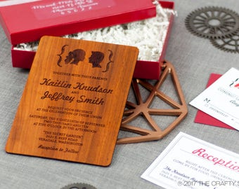 "Solid Wood Wedding Invitation Suite Sample Set - ""Facial Silhouettes"" Design Engraved on Padauk - Plus Credit Towards Final Order"