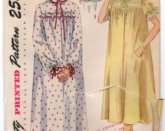 """1950's Simplicity Nightgown or Bed Jacket Pattern - Bust 30"""" - No. 3388"""