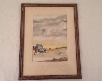 Vintage Original Farm Landscape Watercolor Painting Wood Frame