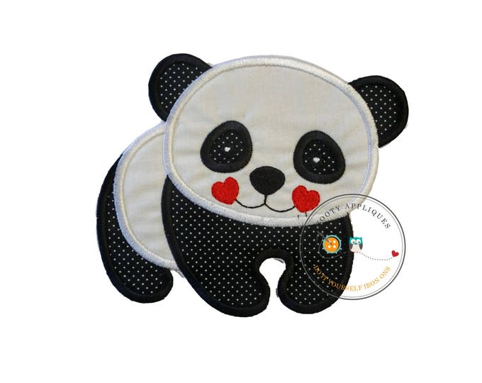 Panda bear, zoo animal, black and white,personalizable, iron on, fabric applique, patch, embellishmentjunkies, ready to ship