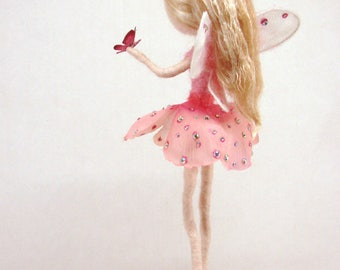 Flower fairy doll in Pink holding a tiny butterfly Flower felted fairy doll Waldolf inspired wool felted art doll