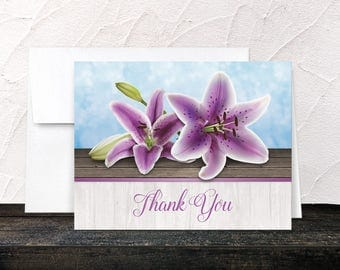 Purple Lily Thank You Cards - Pretty Floral Wood - Seaside Water Tropical - Printed Cards