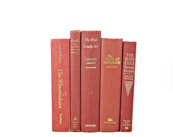 Mahogany Decorative Books, Old Book Set, Red Brown Books by Color, Instant LIbrary, Home Decor, Antique Book Collection, Wedding Decor