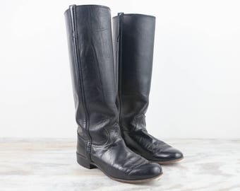 Vintage Size 6 B9, Justin Black Round Toe, Riding Boots, Womens