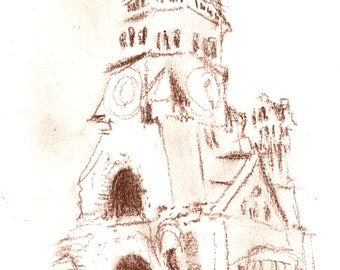 Church Plein Air Sketch  11x14 giclee print,Europe,impressionist,expressive,sketch,travel,art,architecture,ruins,conte crayon,Berlin,steeple