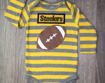 Steelers onsie boy, girl (add a bow or two), gender-neutral