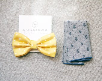 Men's Bow Tie Pre-tied Bow Tie For Men - Yellow Bow Tie - Polka Dot Bowtie Mens Gift Wedding Gifts Groom Gift