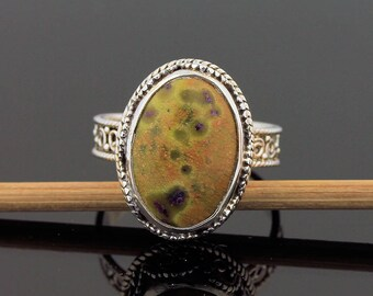 Rare Ocean Jasper Ring // 925 Sterling Silver // Ring Size 8.5 // Handmade Jewelry