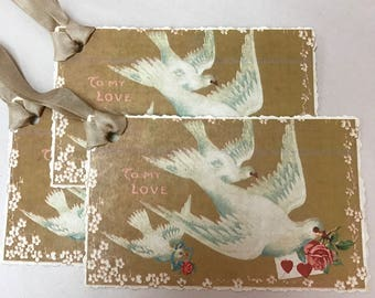 "Valentine Card Gift Tag Bird Dove Edwardian Pink Roses Red Gold White Love ""To My Valentine"""