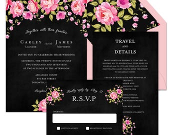 Wedding Invitation Suite {Bright Pink Peonies}