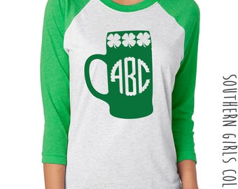 Monogrammed Beer Mug St. Patrick's Raglan Shirt - Monogram Beer Stein St Paddy's Day Shamrock Monogram Tshirt - Monogram Baseball Shirt -