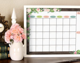 Pink Roses - Floral Calendar - Monthly Calendar - Dry Erase Calendar - Printable Calendar - Teacher Gift - Gift for Her - 16x20 Print
