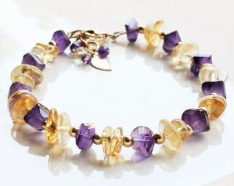 Citrine & Amethyst Bracelet, Goldfill bracelet, natural gemstone, yellow, purple, February November birthstone, holiday gift for her, 4209