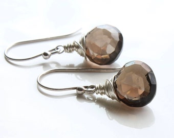 Smokey Quartz Earrings, Goldfilled or Sterling Silver wire wrap, brown gemstone drop earrings, simple minimalist, holiday gift for her, 4326