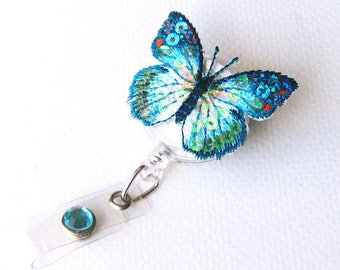 Turquoise Butterfly Badge Reel - Retractable ID Badges - Cute Badge Clips - Nurse Gift - Teacher Lanyard - Badge Pulleys - BadgeBlooms