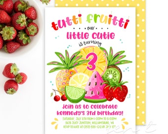 Tutti Fruitti Invitations / Tropical Fruit Invitations / Tutti Fruitti Party / Pineapple Invitations