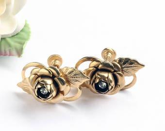 Vintage Gold Roses Earrings, Screw Back Rhinestone Rose Flower Earrings