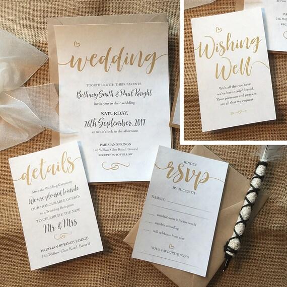 PRINTED ELEGANT Wedding Invitation Set custom designed