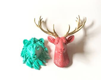 ANY COLOR Set of 2: 1 Small Deer + 1 Other Small Head wall mount For other small animal -Choose from wolf elephant tiger lion zebra or bear