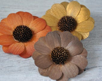 12 Pcs Autumn Zinnia Wooden Flowers for Weddings and Other Floral Decorations