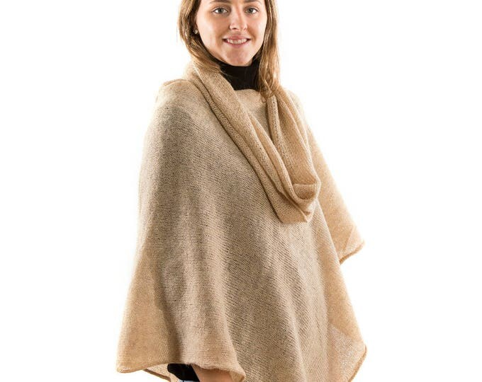 Featured listing image: Alpaca Wool  Knitted Womans  Cape Nude . Beige Knit warm poncho . Womans alpaca Poncho Sweater. Poncho and shawl perfect Christmas present
