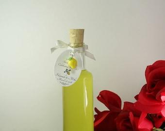 48 Limoncello Bottles 3.5 oz 100ml Tags Corks Limecello Favors Orangecello Favors Clear Glass Bottle Limoncello Favors Custom Tags