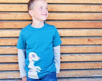 kids meerkat shirt, toddler boy long sleeve shirt with appliqué meerkat, toddler boy shirt teal, organic cotton toddler clothes