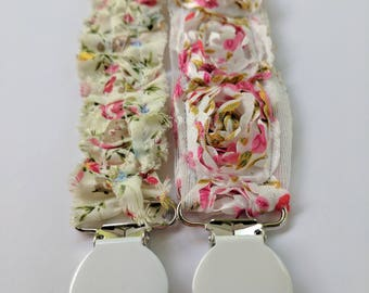 Baby Pacifier Clips / Shabby Chic Baby Girl Pacifier Clips / Roses / Wedding Pacifier Clips / Special Occasion Clips / Girl Soother Clips