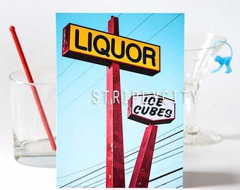 Los Angeles Color Photography/ Liquor Store/ Mid Mod Photography Print/ Cocktail Art/ Bar Decor/ Vintage Signage Photo