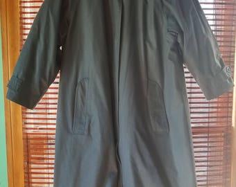 M/L Medium Large Petite Vintage Trench Coat Jacket London Fog Blue/Slate Gray Classic Hidden Buttons