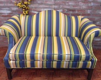 Vintage Ethan Allen Loveseat, Camelback Sofa, Upholstered Sofa, Striped Loveseat, Living Room Furniture
