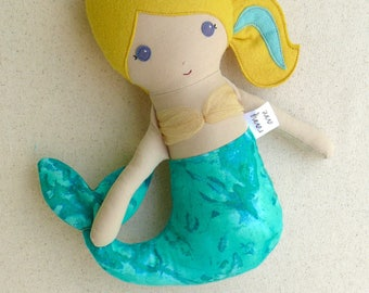 Fabric Doll Rag Doll Small 12 Inch Mermaid Doll with Gold Tulle Top and Green Swirl Tail