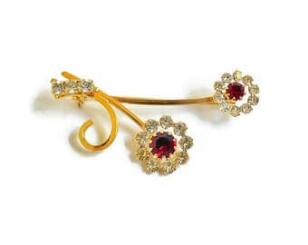 Red Rhinestone Pin Flower Brooch, Clear and Ruby Red Glass Rhinestones, Petite Classy Gold Flower Brooch