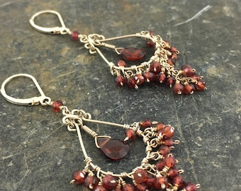 Gemstone Chandelier Earrings, Garnet Earrings, Red Garnets, Chandelier Earrings, Sterling Silver Chandlier, Red Earrings, Dangle Earrings