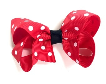 3 inch red, white & black hair bow - red polka dot bow, boutique bows, minnie bow, girls hair bows, girls bows, toddler bows, red bows
